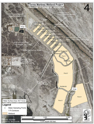 Figure 2. Map of Torres Martinez Salton Sea wetland project. Click to enlarge. Obtained from [2]